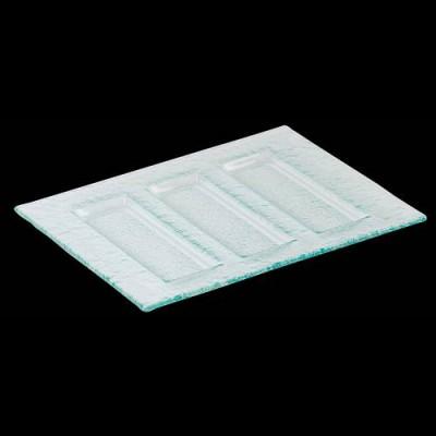 Rechteckiges Tablett mit 3 parallelen Unterteilungen